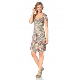 CHEER Letní šaty, Cheer žlutá-růžová-zelená-bílá-potis 34