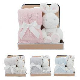 Plyšový králíček s dekou bílá/béžová králíček 30cm, deka 75x90cm