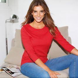 Venca Jednobarevné tričko se 3/4 rukávy červená S