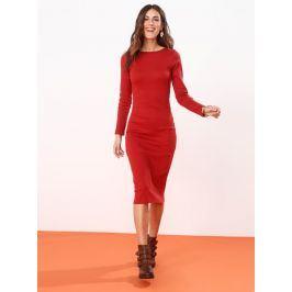 Venca Žebrované šaty v midi délce cihlová S