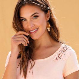 Venca Jednobarevné tričko s krajkovou vsadkou světle růžová S