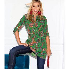Venca Tunikové šaty s potiskem kašmíru zelená S