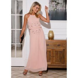 Venca Dlouhé šaty s korálky nude růžová S