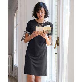 Venca Šaty s kontrastními manžetami na zavázání černá S