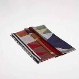 Venca Šátek s třásněmi a geometrickým designem námořnická modrá