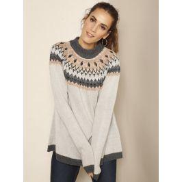 Venca Žakárový pulovr šedá 4XL