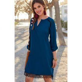 Venca Šaty s krajkovým spodním lemem modrá S