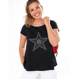 Venca Tričko s aplikací hvězdy černá L