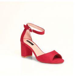 Venca Páskové boty na širokém podpatku červená 38