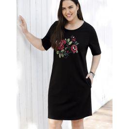 Venca Hebké šaty s potiskem vpředu černá L