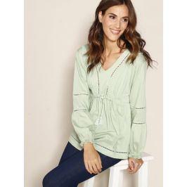 Venca Tunikové tričko s krajkou a prýmky zelená S