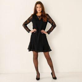 Blancheporte Šaty z voálu a krajky černá 38