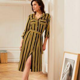 Blancheporte Košilové šaty s proužky černá/medová 38