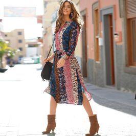 Blancheporte Šaty s potiskem patchwork modrá/papriková 40