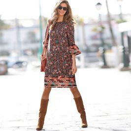 Blancheporte Šaty s potiskem čokoládová/dýňová 40