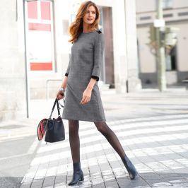Blancheporte Kostkované šaty černá/bílá 38