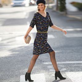 Blancheporte Šaty s potiskem a pruhy v pase černá/modrá 38
