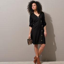 Blancheporte Šaty s asymetrickou knoflíkovou légou, jednobarevné černá 36