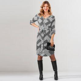 Blancheporte Košilové šaty s pruhy černá/bílá 42