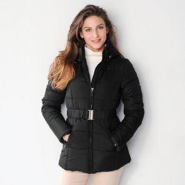 Blancheporte Krátká prošívaná bunda s páskem černá 36