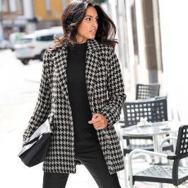Blancheporte Kabát se vzorem kohoutí stopy černá/bílá 38