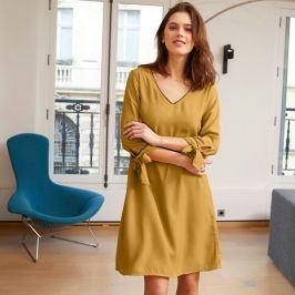 Blancheporte Šaty s kontrastním lemováním šafránová 36