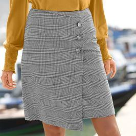 Blancheporte Asymetrická kostkovaná sukně černá/bílá 38
