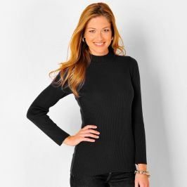 Blancheporte Žebrovaný pulovr se stojáčkem, délka cca 72 cm černá 34/36