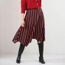 Blancheporte Pruhovaná asymetrická sukně černá/bordó 42/44