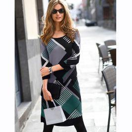 Blancheporte Úpletové šaty s potiskem černá/zelená 38/40