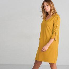 Blancheporte Šaty z úpletu Milano, jednobarevné hořčicová 42