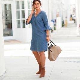 Blancheporte Denimové šaty se šněrováním modrá 44