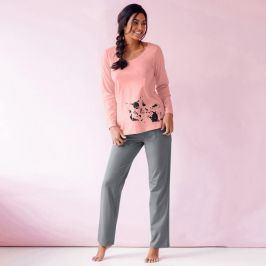 Blancheporte Pyžamo s potiskem kočky, sada 2 ks broskvová+nebesky modrá 42/44