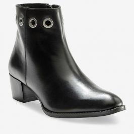 Blancheporte Kotníkové kožené boty s kovovými očky černá 36