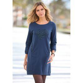 Venca Vypasované šaty se 3/4 rukávy a kapsami modrá M