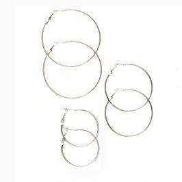 Venca Kruhové náušnice, 3 páry stříbrná