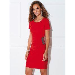 Venca Šaty s nařasením a korálkovým zdobením červená 38