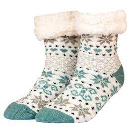 Zimní ponožky s beránkem s motivem vloček tyrkysová 35-42
