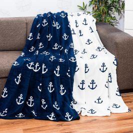 Plyšová deka s kotvou modrá 200x150cm