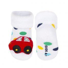 Ponožky s chrastítkem SOXO AUTO bílé Velikost: 16-18
