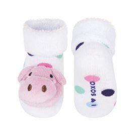 Ponožky s chrastítkem SOXO PRASÁTKO bílé Velikost: 16-18