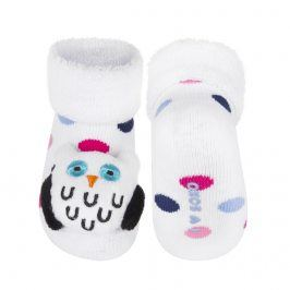 Ponožky s chrastítkem SOXO SOVA bílé Velikost: 16-18