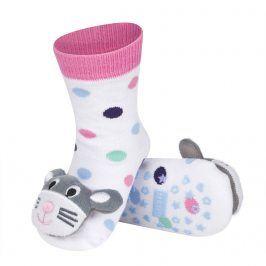 Ponožky s chrastítkem SOXO MYŠKA bílé Velikost: 19-21