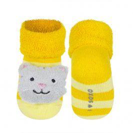 Ponožky s chrastítkem SOXO KOČIČKA žluté Velikost: 16-18