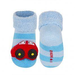 Ponožky s chrastítkem SOXO AUTO modrý pruh Velikost: 16-18