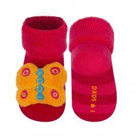 Ponožky s chrastítkem SOXO MOTÝL červené Velikost: 16-18