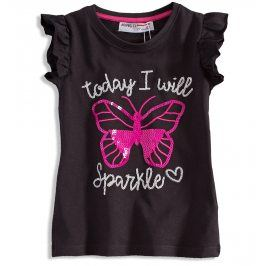 Dětské triko pro holčičky s obrázkem MINOTI MOTÝL šedé Velikost: 80