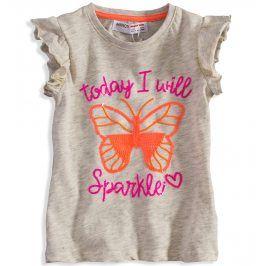 Dětské triko pro holčičky s obrázkem MINOTI MOTÝL béžové Velikost: 80