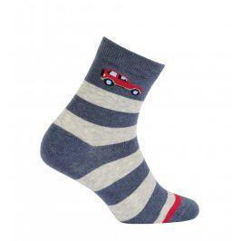 Chlapecké ponožky WOLA PRUHY, ČERVENÉ AUTO Velikost: 27-29