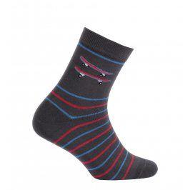 Chlapecké ponožky se vzorem WOLA SKATEBOARD tmavě šedé Velikost: 27-29
